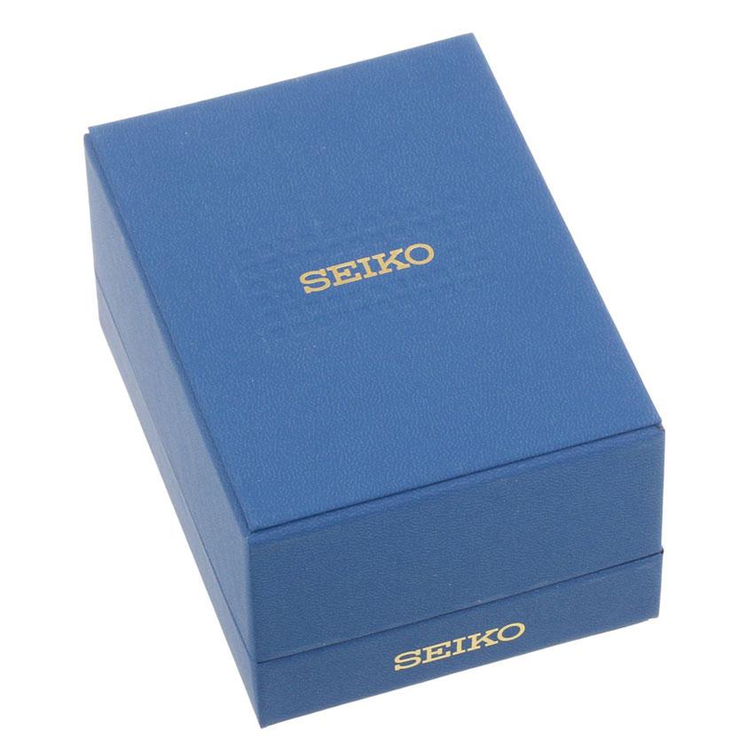 Đồng hồ nam Seiko viền vàng, hiển thị 3 đồng hồ chức năng, dây kim loại bạc kẻ sọc vàng